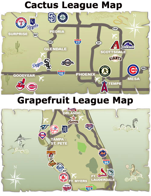 Spring Traming MLB Map